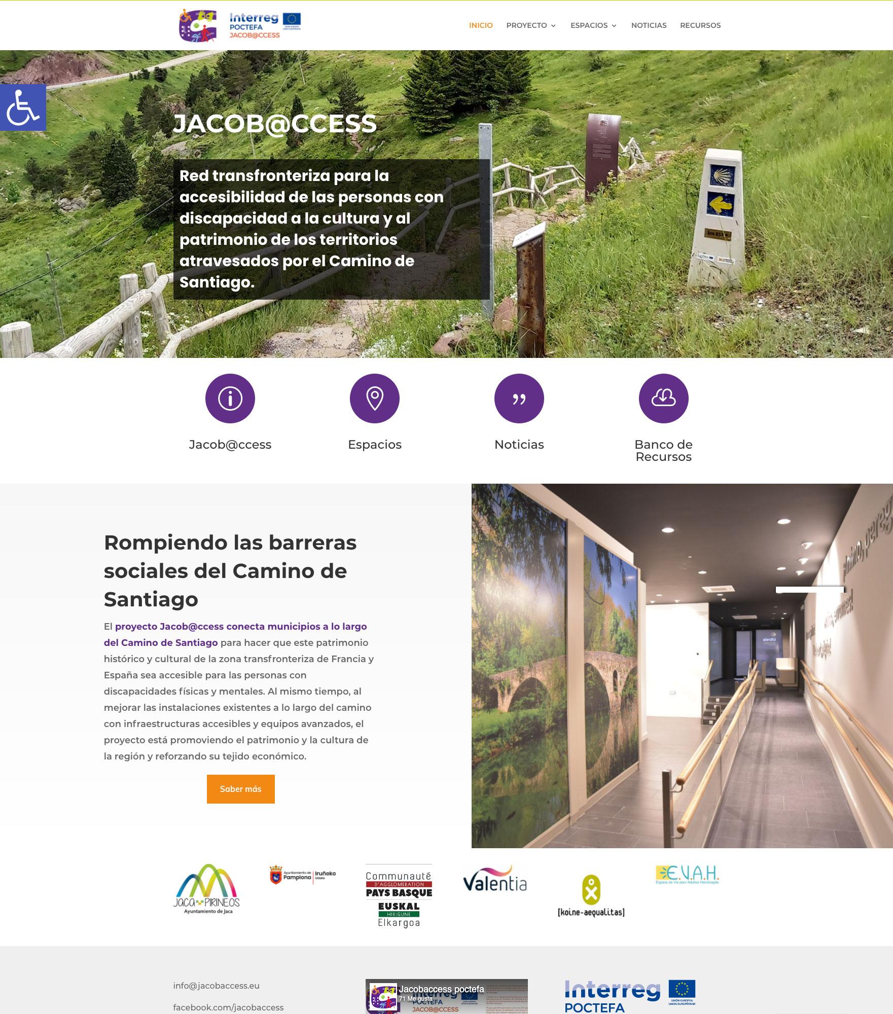 El proyecto Jacob@ccess, liderado por el Ayuntamiento de Jaca, ha puesto en marcha estos días su nuevo sitio web que ofrece información sobre la actualidad, acciones, sedes y objetivos de este programa transfronterizo, cofinanciado por el Fondo Europeo de Desarrollo Regional.